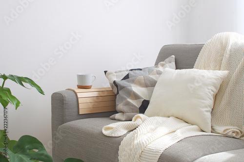 Valokuvatapetti Home interior Cozy Living room Sofa Cushion Coffee mug Knitted plaid Monstera pl