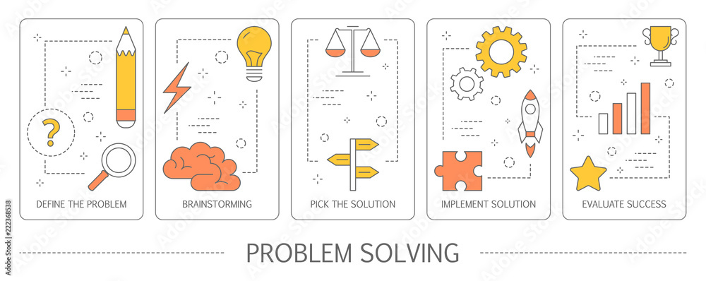Fototapeta Set of problem solving abstract vertical banners