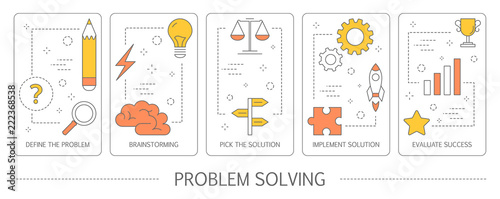 Fotografie, Obraz  Set of problem solving abstract vertical banners