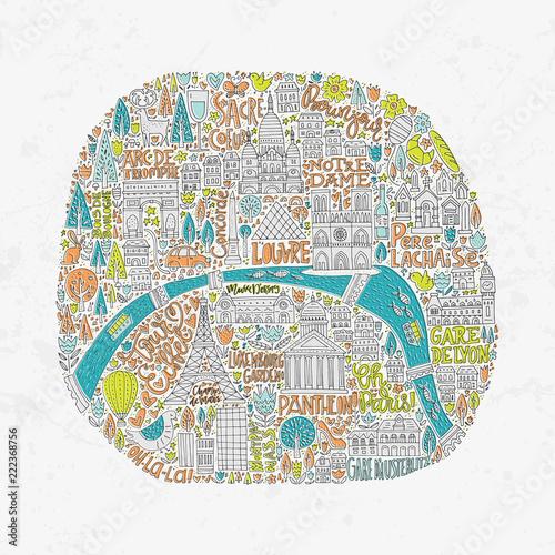 Fotografía  Handdrawn Paris Map