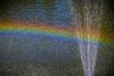 Fototapeta Tęcza - kolorowa tęcza przy fontannie wody