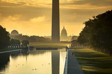 Washington DC Monument And The US Capitol Building Across The Reflecting Pool From The Lincoln Memorial On The National Mall USA