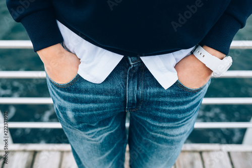 Candid lifestyle close-up of fashionable female