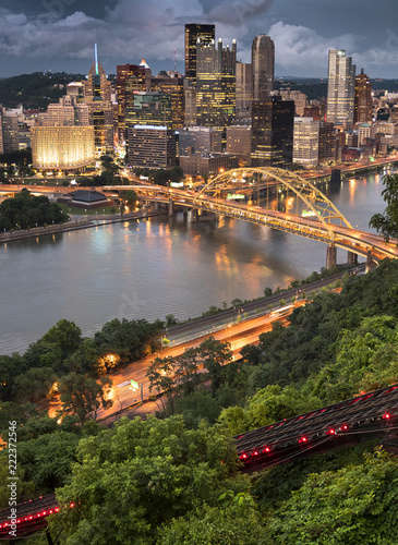 Pittsburgh city downtown skyline landscape view over the Monongahela and Alleghe Canvas Print