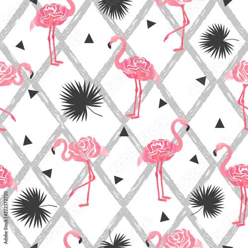 bezszwowe-tropikalny-modny-wzor-z-akwarela-streszczenie-flamingi-trojkaty-i