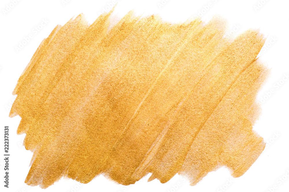 Fototapety, obrazy: Golden watercolor stroke on white. Bright luxury background.