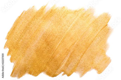 Golden watercolor stroke on white. Bright luxury background. Fototapet
