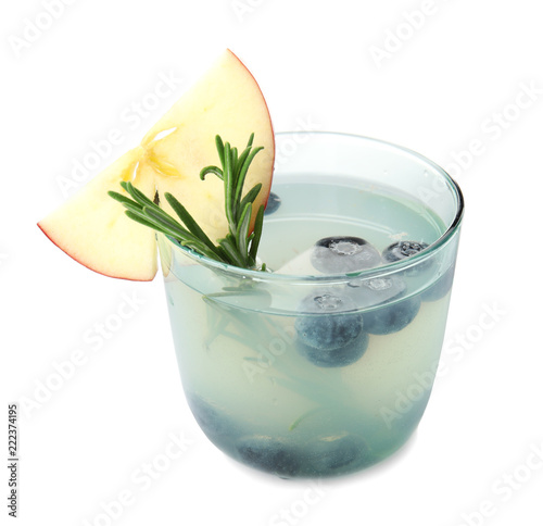 Glass of refreshing blueberry cocktail with rosemary on white background