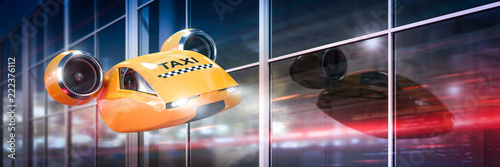 Fotografering Flying car - yellow taxi