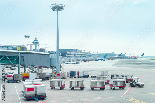 Foto op Aluminium Luchthaven Luggage carriages by Changi airport