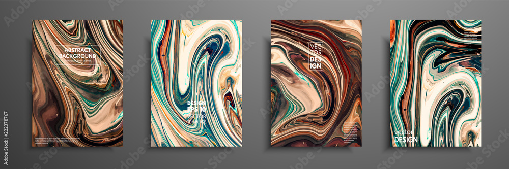 Fototapety, obrazy: Flyer layout template with mixture of acrylic paints. Liquid marble texture. Fluid art. Applicable for design cover, flyer, poster, placard. Mixed green, brown and yellow paints