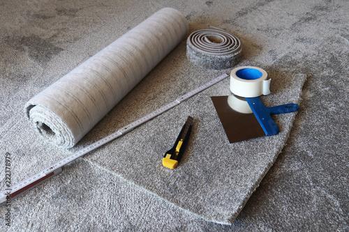 Einen Neuen Teppichboden Verlegen Buy This Stock Photo And Explore