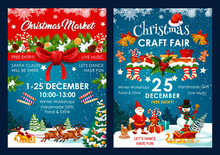 Christmas Fair Decoration Vector Posters