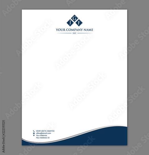 Blue Letterhead Template With Logo