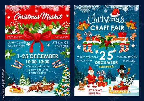 Stampa su Tela  Christmas fair decoration vector posters