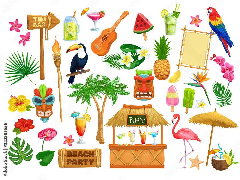 Fototapeta hawaiian beach party icons