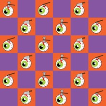 Halloween Theme Seamless Pattern Monster Eye Balls On Checker Background Half Drop Repeat