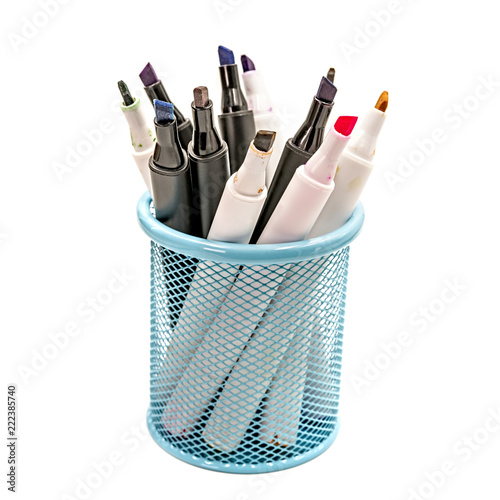 Fotografie, Obraz  colorful markers in a blue holder, school or office supplies isolated on white