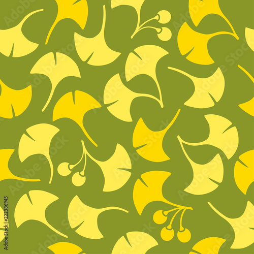 Seamless pattern of ginkgo leaves
