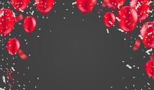 Red White Balloons, Confetti C...