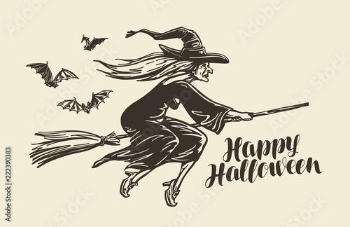 Staande foto Imagination Halloween, greeting card. Old witch flies on broomstick. Vintage sketch vector illustration