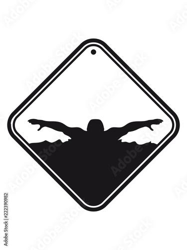 Tauchen Achtung Warnung Vorsicht Hinweis Schild Wettkampf Schwimmen