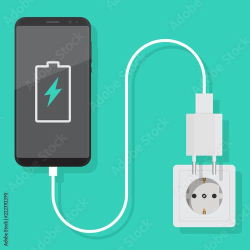 Foto Smartphone charger adapter vector flat, smartphone, electric socket, adapter, ba