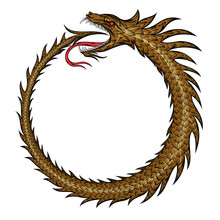 Vector Magic Symbol Of Uroboros. A Snake Curling In A Ring Biting Itself By The Tail. Ouroboros