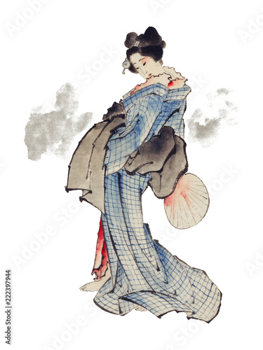 Traditional Japanese Ukyio-e style illustration of a Japanese woman in kimono by Katsushika Hokusai (1760-1849) Fototapet