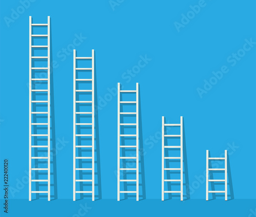 Obraz na plátně Big and small white step ladder near the wall