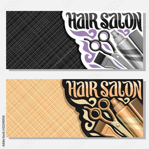 Vector Banners For Hair Salon With Copy Space Templates With Hairdresser Professional Equipment Original Brush Typeface For Words Hair Salon Coupons With Hairstyle Tools For Luxury Beauty Saloon Buy This Stock