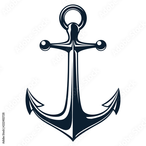 Obraz na plátne Vector illustration, monochrome sea anchor icon isolated on white background