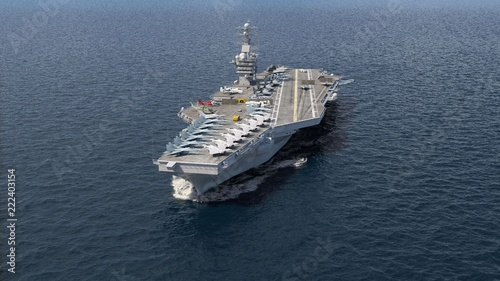Photo  Aircraft carrier crossing the ocean 3D rendering