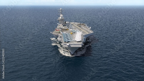 Aircraft carrier crossing the ocean 3D rendering Canvas Print