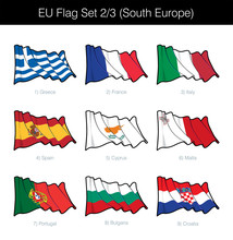 European Union Waving Flag Set...