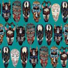 Ethnic Mask Seamless Pattern. ...