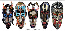 African Mask Hand Drawn Waterc...
