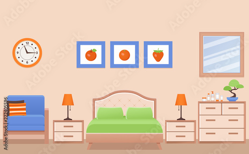 Bedroom Interior Hotel Room With Double Bed Vector Home Furniture