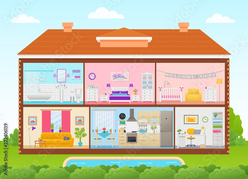 House interior. Vector. Home cross section with rooms ...