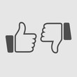 Thumbs up and down set. Vector icon. Simple isolated pictogram.