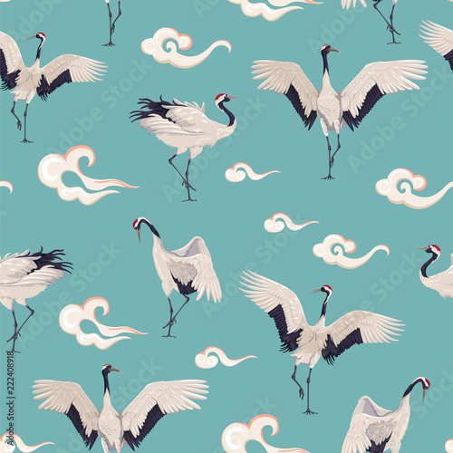 Naklejki żurawie  seamless-pattern-with-japanese-cranes-and-clouds