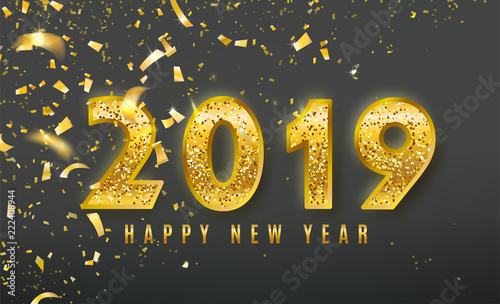 2019 happy new year vector background with golden confetti tinsel elements shine glitter numbers