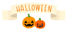 Vector Illustration Of A Halloween Banner With Two Jack O' Lanterns