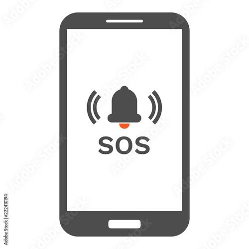 Fényképezés Smartphone with emergency button on screen. Vector.