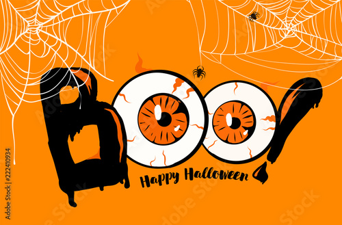 Obraz na plátne Happy Halloween banner background, Boo lettering with orange eyes