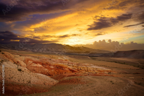 Staande foto Asia land Beautiful sunset mountain landscape Kyzyl-Chin, Altai, Russia