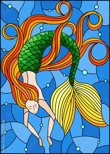 ilustracja-w-stylu-witrazu-z-syrena-z-dlugimi-rudymi-wlosami-na-wodzie-i