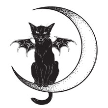 Black Cat With Bat Wings Sitting On The Crescent Moon Isolated Line Art And Dotwork Vector Illustration. Witches Familiar Spirit Animal, Gothic Style Card Or Poster Design.
