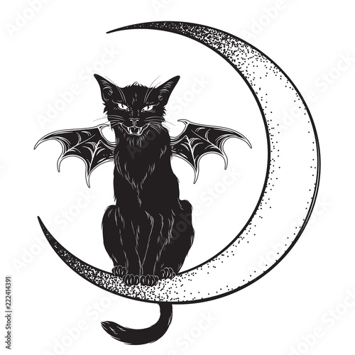 Photo Black cat with bat wings sitting on the crescent moon isolated line art and dotwork vector illustration