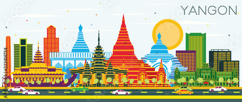 Yangon Myanmar City Skyline with Color Buildings and Blue Sky. Wallpaper Mural